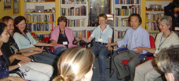My first Jikiden Reiki training with Tadao Yamaguchi in Duesseldorf , June 2006. I'm the person with the big grin on my face to the left of Mr Yamaguchi.